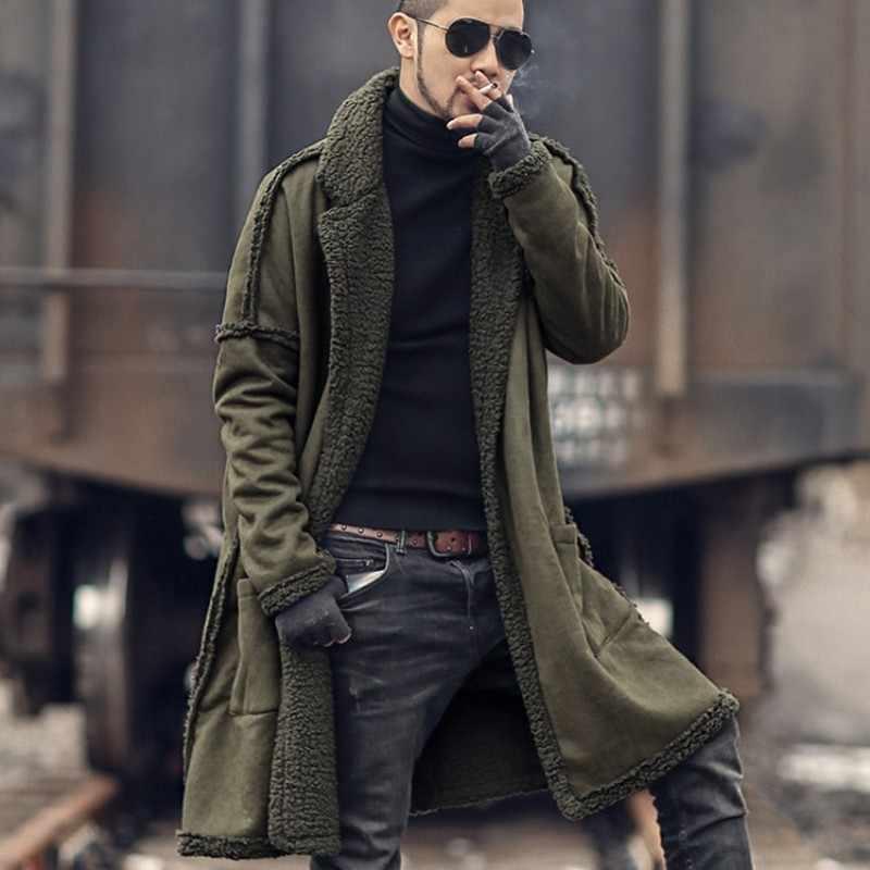 Inverno dos homens da pele do falso peludo longo trench coat homem gótico reversível quente solto caber casaco grosso estilo militar windreaker trench