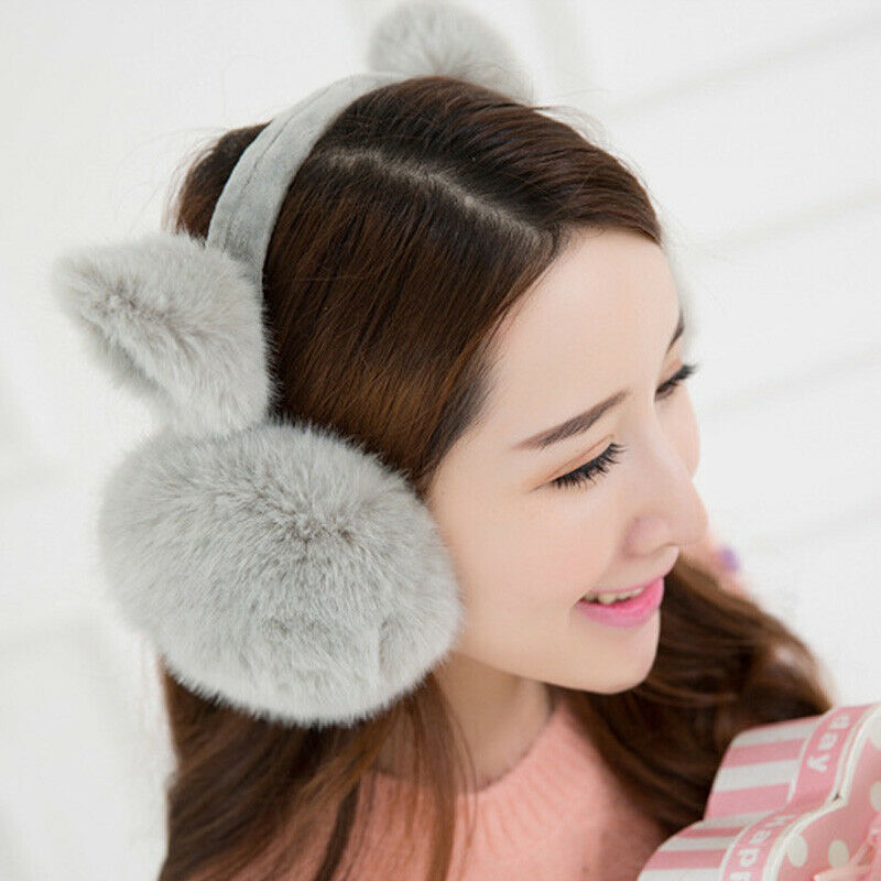 Winter Warmer Big Earmuffs Thicken Plush Fluffy Ear Muffs Solid Earlap Faux Fur Cute Cat Ear Women Girls Earmuffs