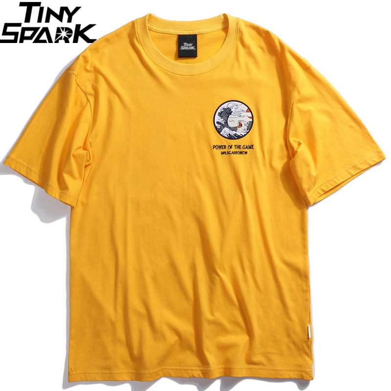 2019 Men T-Shirt Hip Hop Funny Cat T Shirts Harajuku Japanese Tshirt Streetwear Embroidered Summer Cotton Tops Tees Short Sleeve