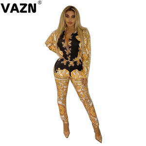 VAZN MYF9389 New Fashion Set Mature Vintage Vacation Sexy Fashion Full Sleeve Top Full Pencil Pant Elastic Women 2 Piece Set