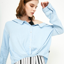 Spring Summer New Women's V Neckline Loose Fit Pleated Denim Shirt |118253501 v neckline pleated waist jumpsuit