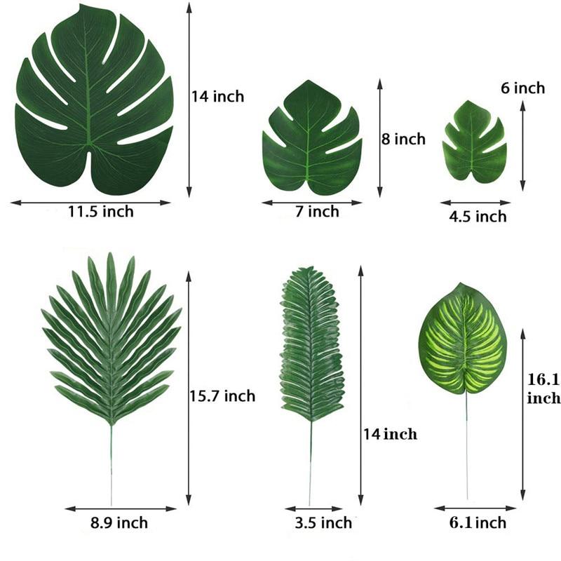 home decor ideas use tropical leaves.htm 90pcs set artificial tropical palm leaves for hawaiian luau theme  artificial tropical palm leaves