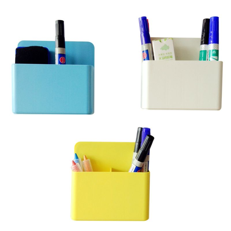Fridge Magnetic Marker Pen Storage Box Grid Rubber Magnet Plastic Organizer For Classroom Meetingroom Pencil Case Save Space