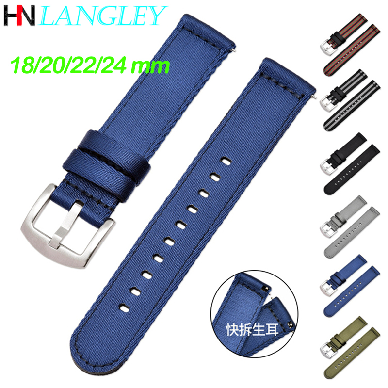 General Replacement Nylon Watch Band 18mm 20mm 22mm 24mm Width Double Layers Canvas High Quality Smooth Nylon Strap WatchBands