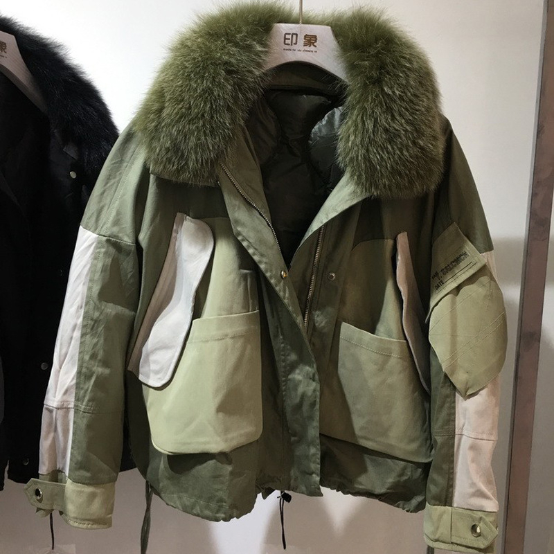 Real Natural Fox Fur Women Winter Jacket Bomber Oversize Warm Coat Down Parkas Coats Female Hooded White Duck Down Jacket YRF47