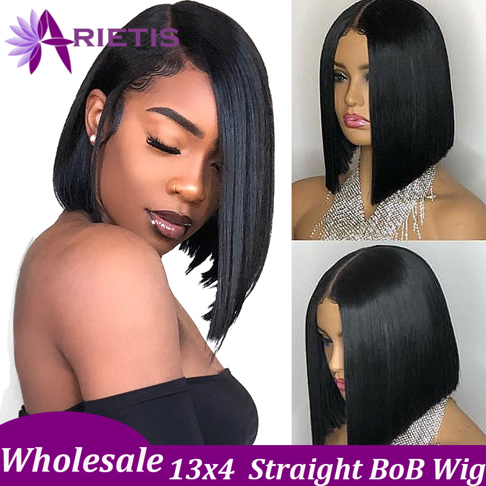 Arietis 13x4 Short Lace Front Human Hair Wigs 6- 16 Inch Brazilian Straight Bob Wig Pre Plucked With Baby Hair Frontal Wigs