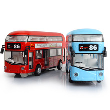 1:50 scale diecast car metal model with light and sound United Kingdom London Double Decker Bus pull back vehicle alloy toys 110