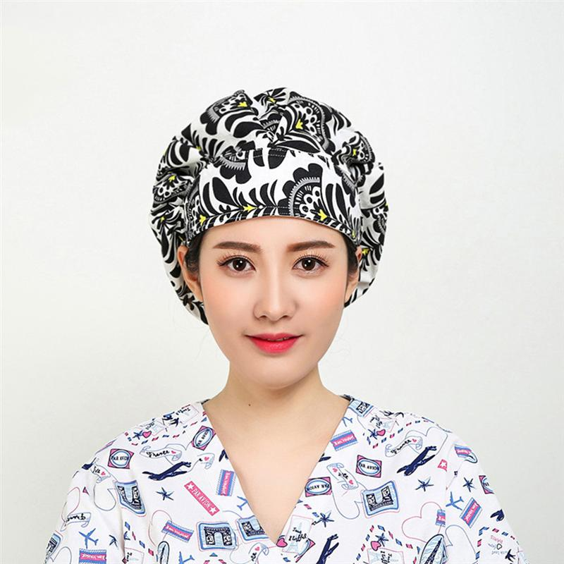 Black Fan Leaf Pattern Working Hat Cotton Nurse Hat Doctor Hat Fashion Adjustable Hat