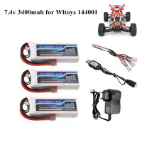 Batería Lipo 2s 7,4 V 3400mAh para Wltoys 1/14 144001 RC coche barco parte 7,4 v cargador de batería set