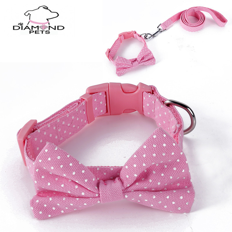 New Style Cute Yuandian Dai Bow Pet Small Medium Dog Collar And Haulage Rope Package