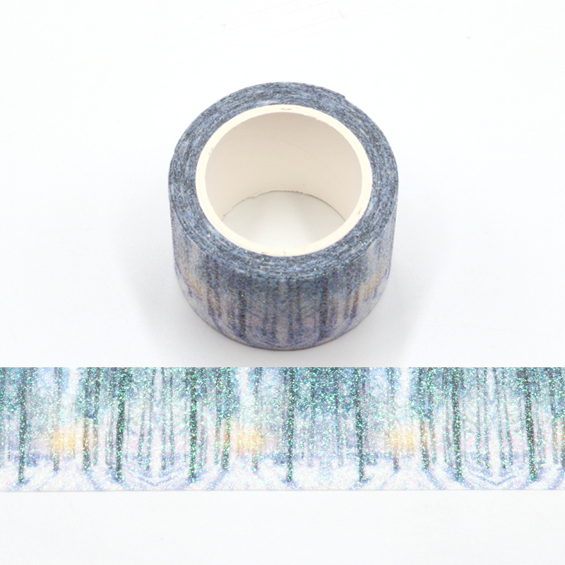 Forest Snow Scene Bullet Journal Glitter Washi Tape Cute Decorative Adhesive Tape DIY Scrapbooking Sticker Label Stationery