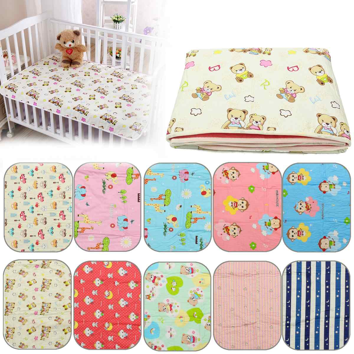 Baby Adult Infant Diaper Nappy Urine Mat Kid Waterproof Bedding Pad Mattress 80x120cm 10 Types Cotton+Polyester Home Textile
