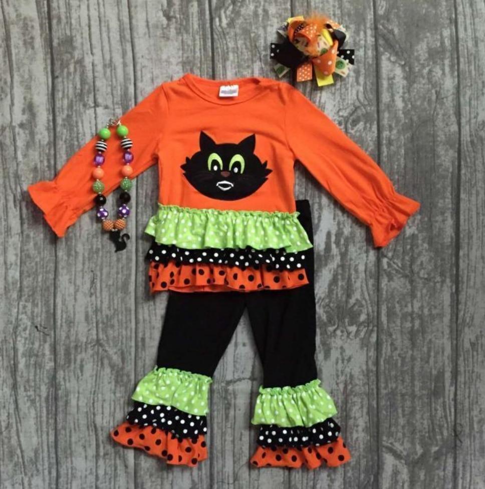 Girlymax special offer baby girls fall/winter Halloween children clothes cotton set match accessories 5