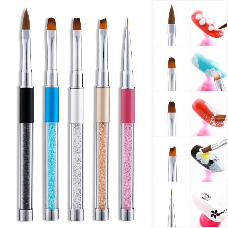 Nail Art Gel Brush Set Pen UV Gel Nail Art  Builder  Flat/Bevel/Tip pen Crystal Painting Drawing Carving Pen Manicure Tool
