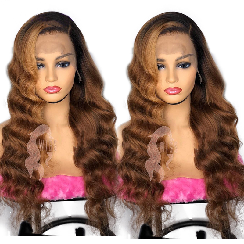 Eversilky Ombre Glueless 13x4 Lace Front Human Hair Wig Brazilian Remy Body Wave Ombre Highlights Blonde  Pre Plucked Hairline