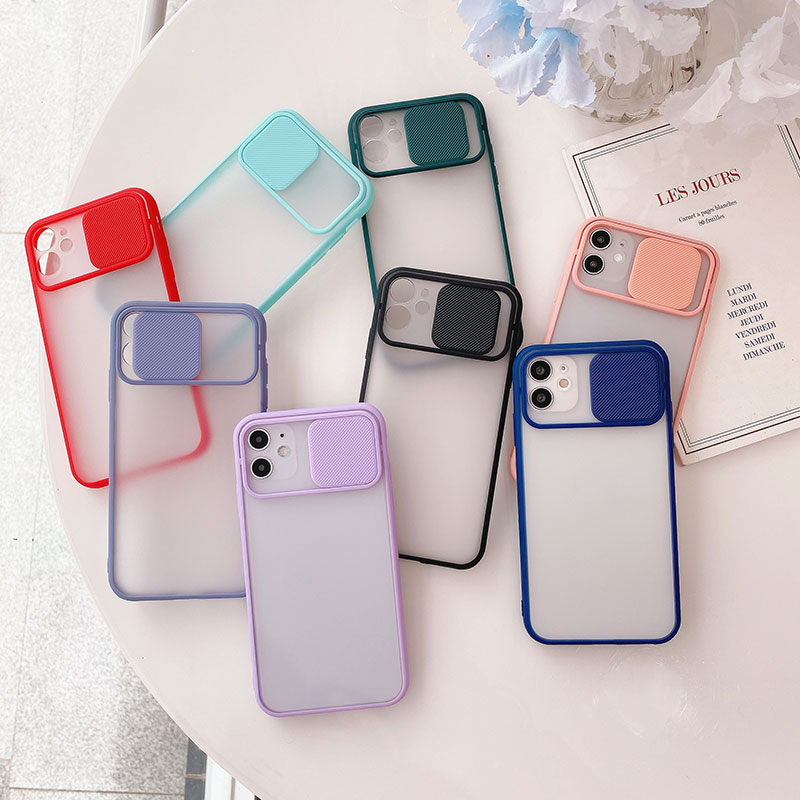 For iPhone 12 11pro Max Transparent Protective Phone Case Slide Camera Lens Protection Car Magnetic Holder Ring Matte Soft Cover