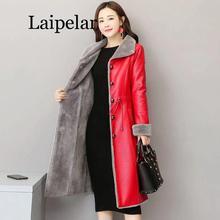 PU Leather Faux Fur Women Long Coat 2020 Casual Plus Size 5XL Slim Coat Black Faux Fur Collar Jacket Coat faux fur collar zip up pu leather padded coat