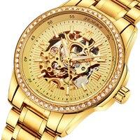 Relógios de negócios dos homens retro design de luxo papéis ouro banda de aço inoxidável esqueleto mecânico automático novos relógios luminosos mãos|Relógios femininos| |  -