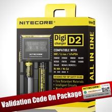 100% cargador de batería Nitecore D2, Original, pantalla LCD, Nitecore, para 26650, 18650, 18350, 16340, 14500, 10440