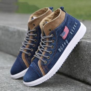 Fashion Denim Sneakers Men's Casual Shoes Breathable Sneaker Canvas Shoes for Men Lace Up Trainers Male Flats Zapatillas Hombre недорого