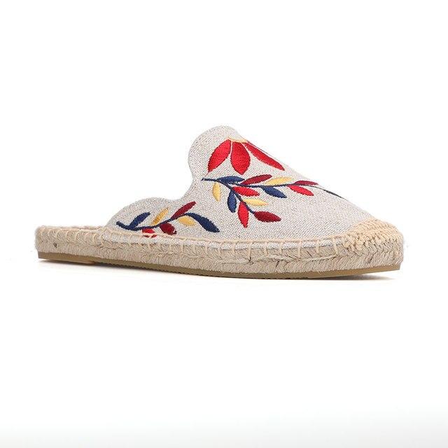 Mules dété en chanvre imprimé, pantoufles en caoutchouc, pour chaussures plates, Tienda Soludos, meilleure vente 2019