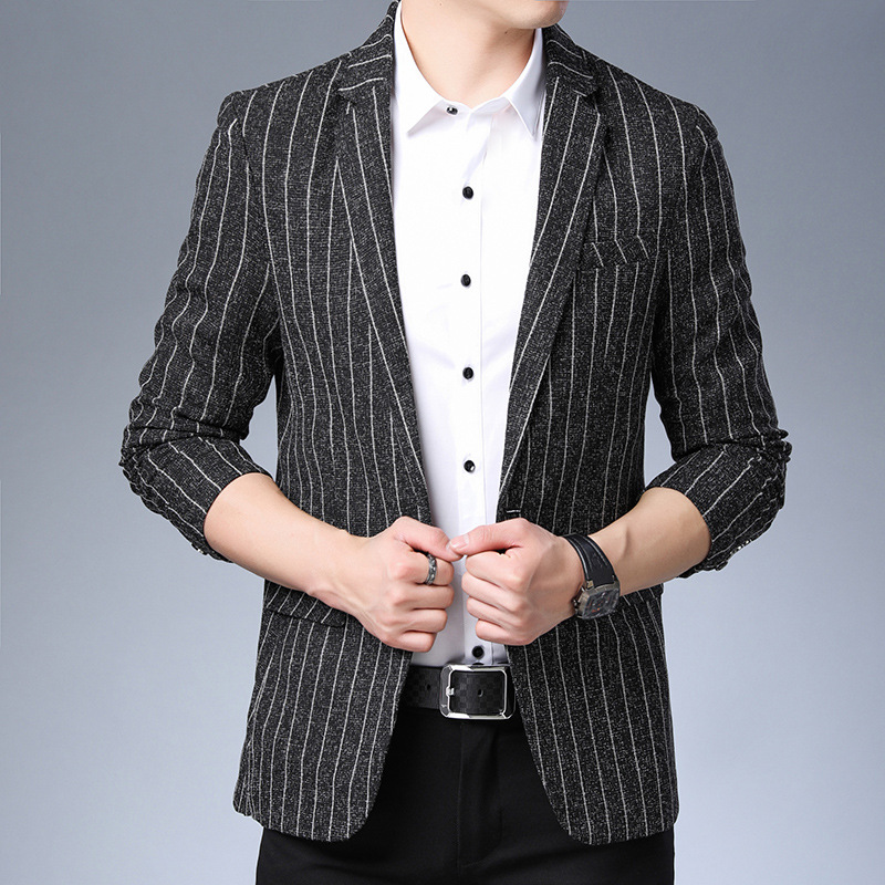 2019 The New Men's Cultivate One's Morality West Stripe Printed Fashion Suits
