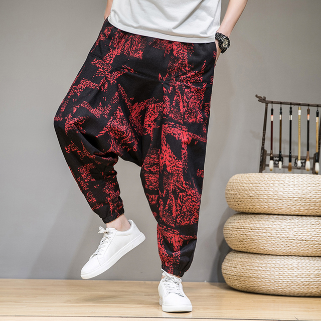2020 homens verão outono bloomers masculino casual impresso solto algodão harem calças homens grande virilha calças homens hip hop baggy calças 2