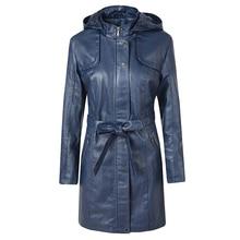Женская куртка-парка из искусственной кожи с капюшоном и длинным рукавом, осенняя верхняя одежда на шнуровке
