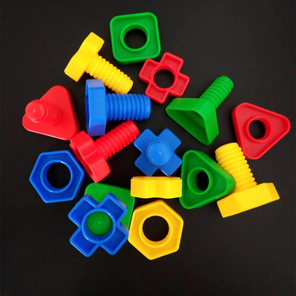 4 Pair Colorful Plastic Screw Nut Insert Blocks Toy Educational Toy For Children Kid Gifts Montessori Scale Models