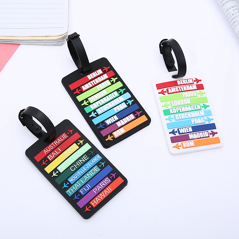 Travel Accessories Silica Gel Luggage Tag Fashion Rainbow Airplane Suitcase ID Address Holder Baggage Boarding Tag Portable Labe