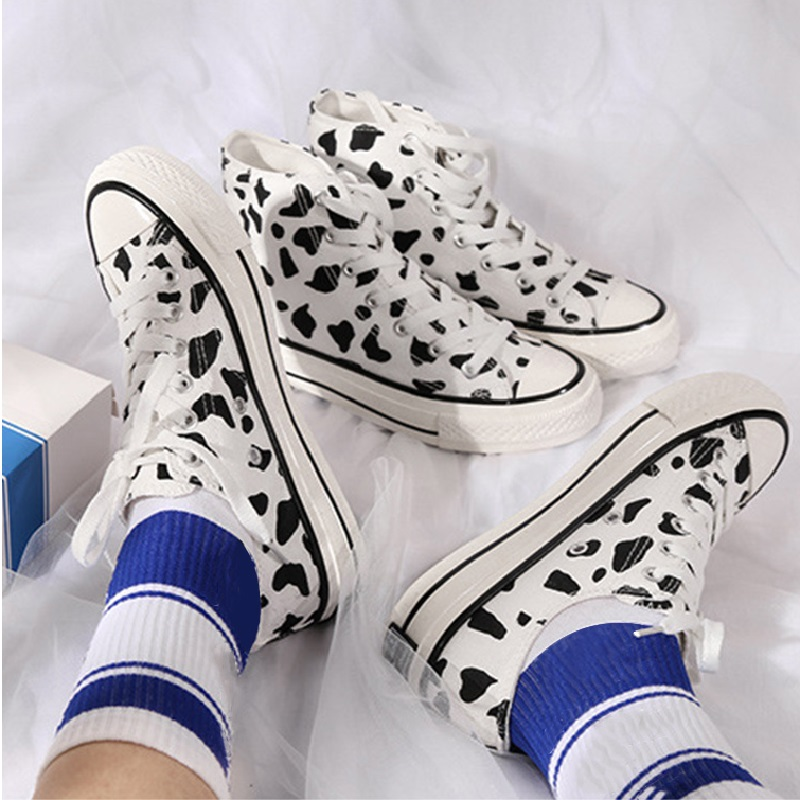 Women Flat Platform Vulcanized Shoes Canvas Lace Up Cow Spot Graffiti Students Ladies Spring Casual Fashion Female Board Shoes