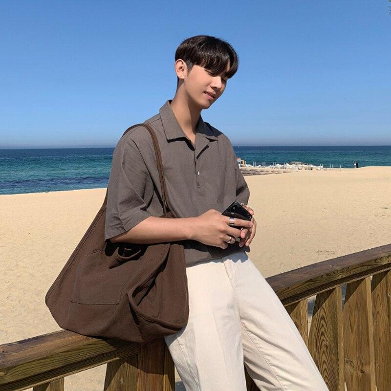 Solid Lapel Shirt Men's Korean Single-breasted Short-sleeved Loose Shirt Boy Simple Slim Summer Shirt Men