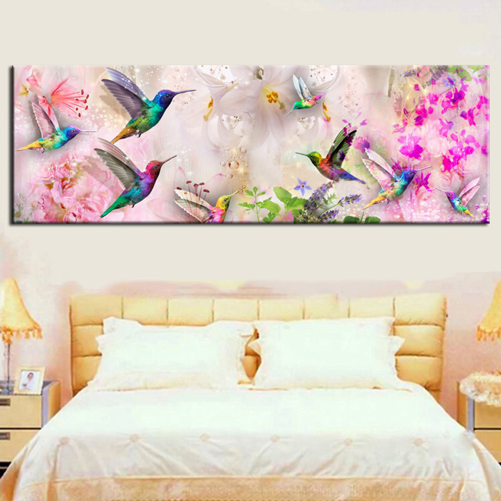 <font><b>Large</b></font> size 5D <font><b>Diy</b></font> <font><b>Diamond</b></font> <font><b>Painting</b></font> Cross Stitch full round/Square <font><b>Diamond</b></font> Embroidery Hummingbird and flower for room Decor image