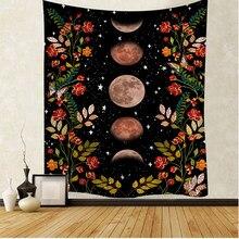 Sol e lua boemia flores padrão de plantas cobertor tapeçaria quarto colcha decoração