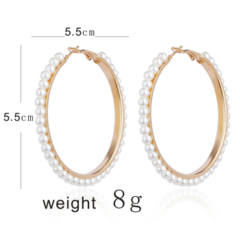 Europe and the United States 2019 new hot sale geometric exaggerated pearl big circle pendant women's earrings fashion jewelry 3