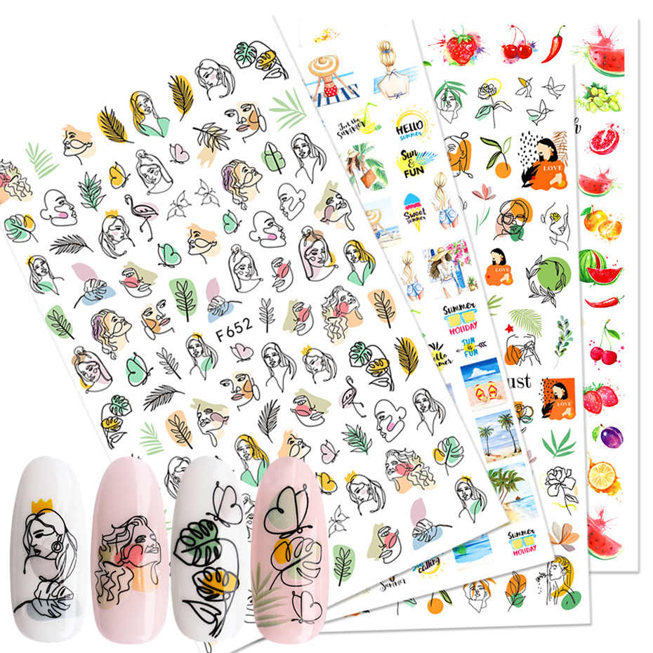 1Pcs Zomer Sticker Nail Art Decoraties Vlinder Decals 3D Stickers Vrouw Gezicht Fruit Folie Manicure Wrap LAF644-653