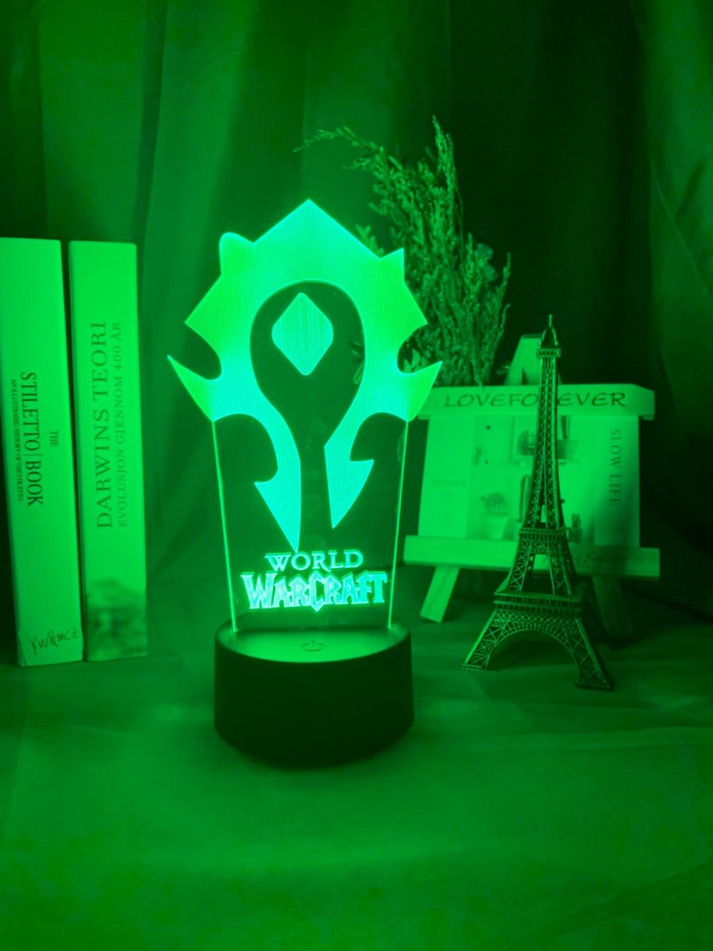 H443709943b8246d4a61560b72d13570eA Luminária World of warcraft Luz da noite 3d jogo horda bandeira cor mudando nightlight para crianças criança cama quarto decoração sensor de toque lâmpada led wow presente