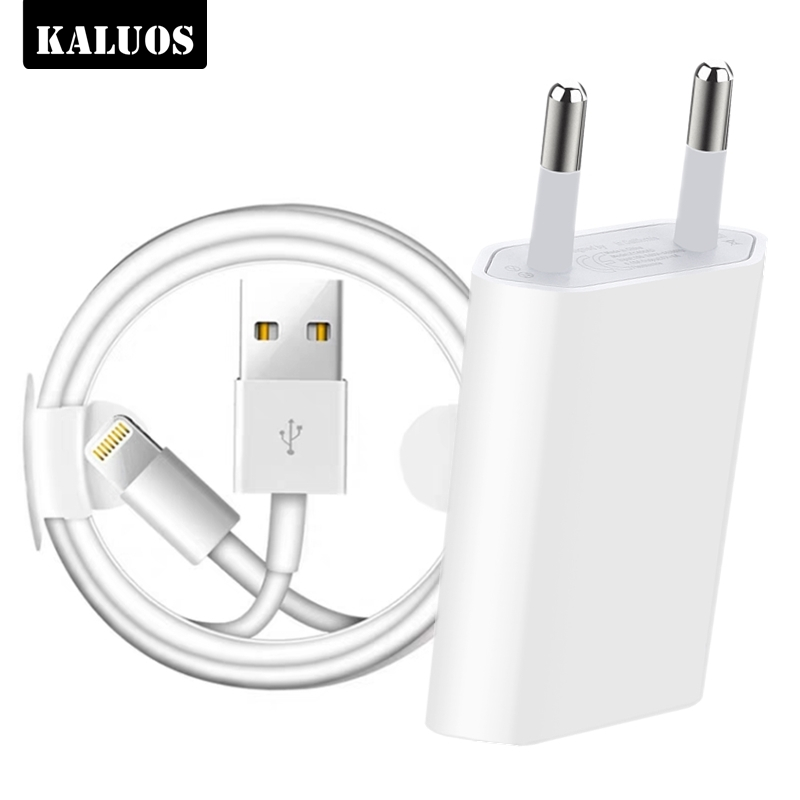 KALUOS 1m 2m USB Charging Data Cable EU Plug USB Charger For IPhone 6 6S 7 8 Plus X XS MAX XR 5 5S 11 Pro Wall Chargers Cables