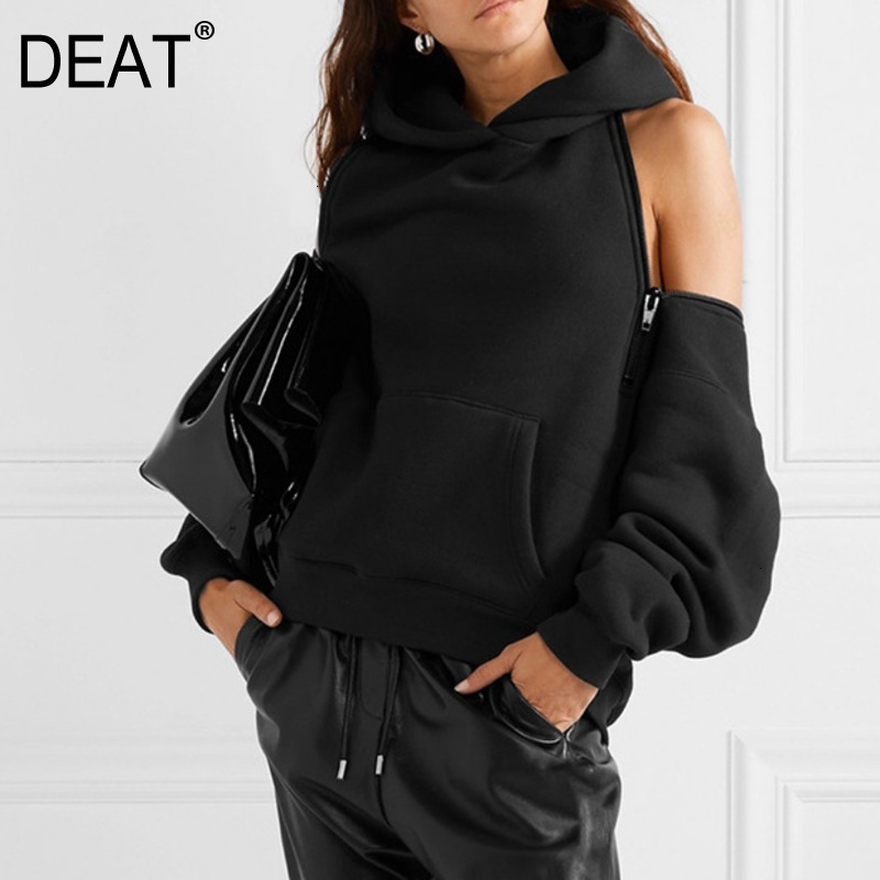 DEAT 2020 Sweatshirt Women's Autumn And Winter New Loose Sexy Plus Velvet Solid Color Temperament Hooded Warm Top PB913
