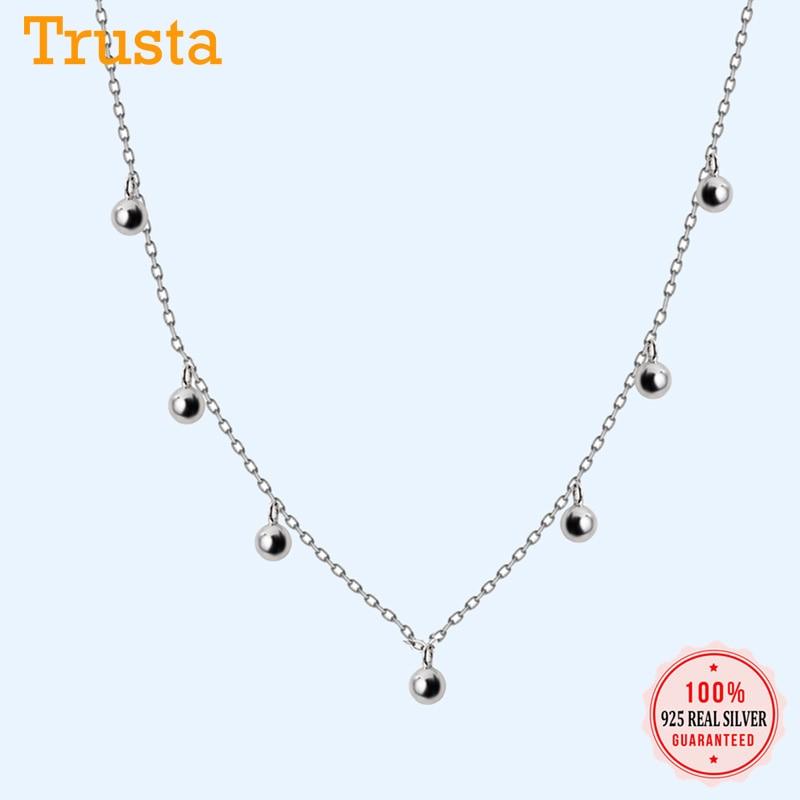 Trustdavis Genuine 925 Sterling Silver Cute Sweet Tassel Small Beads Pendant Necklace For Women Wedding Jewelry Gift DS2103