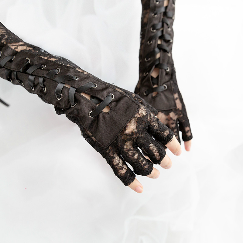 Gothic Steampunk Black Lace Up Fingerless Gloves  4