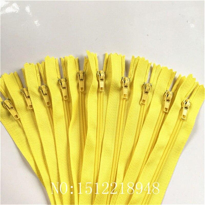 10 шт. 3 дюйма-24 дюйма(7,5 см-60 см) нейлоновые застежки-молнии для шитья на заказ нейлоновые молнии оптом 20 цветов - Цвет: yellow