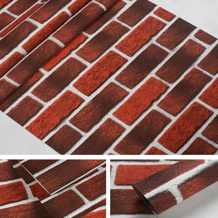 Retro 3D Model Brick Wallpaper Red Brick Clothing Store Restaurant Waterproof PVC Brick Pattern Wallpaper