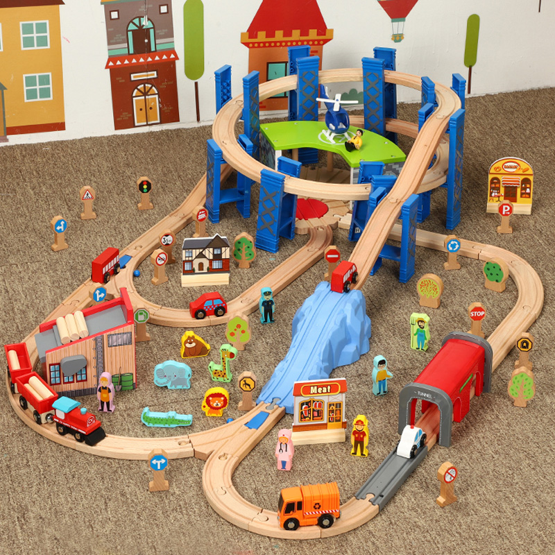 Деревянный поезд модель строительные блоки трек набор деревянная железная дорога электрический RC Поезда треков железнодорожных путей дер...