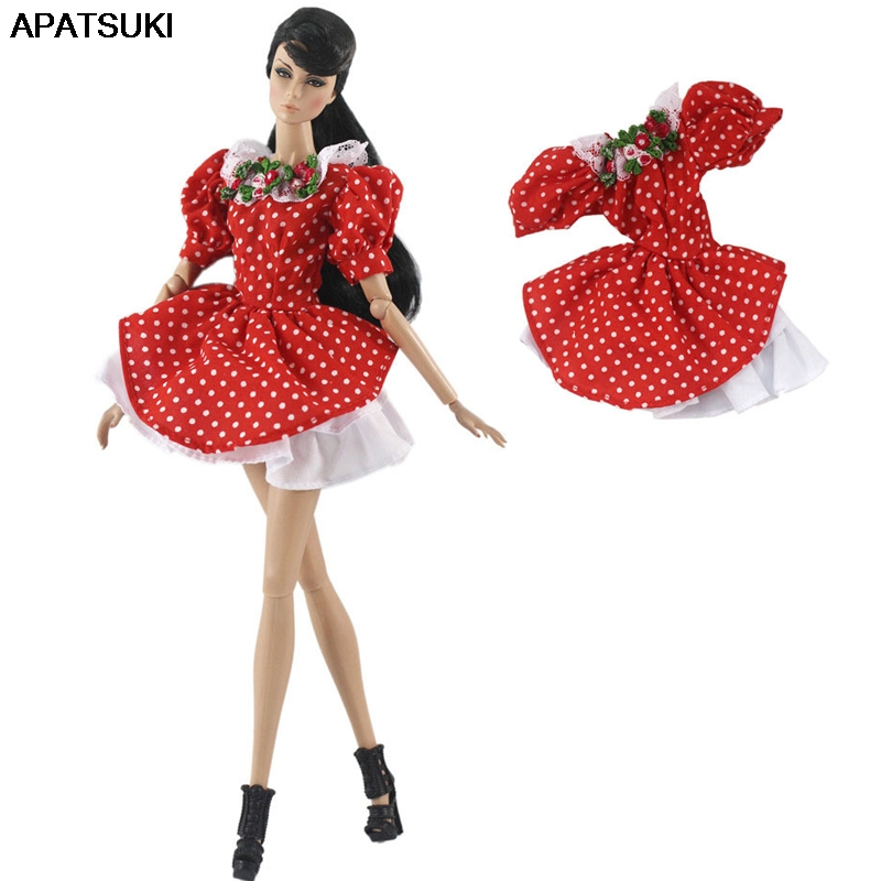 Red Polka Doll Clothes For Barbie Doll Dress Gown Short Dresses Outfits For Barbie Dollhouse 1/6 Doll Accessories Kids Toy