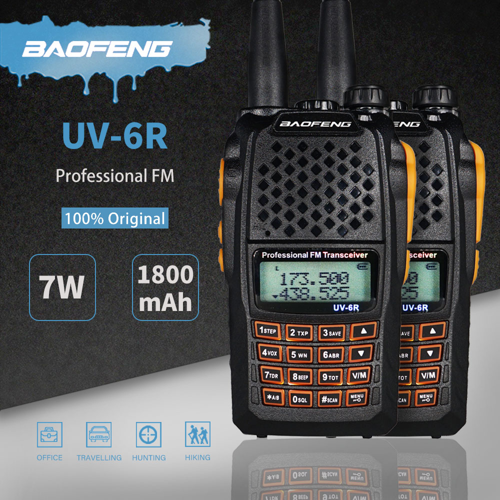 2pcs Baofeng UV-6R Two Way Radio 7W Dual Band UHF VHF Transceiver UV 6R Portable Walkie Talkie UV6R FM VOX Hunting Ham CB Radio