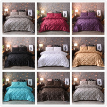Grey Black Duvet Cover Bedding Set Solid Bed Covers Pinch Pleat Art Work Single Double Twin Queen King Size 3PCS with Pillowcase(China)