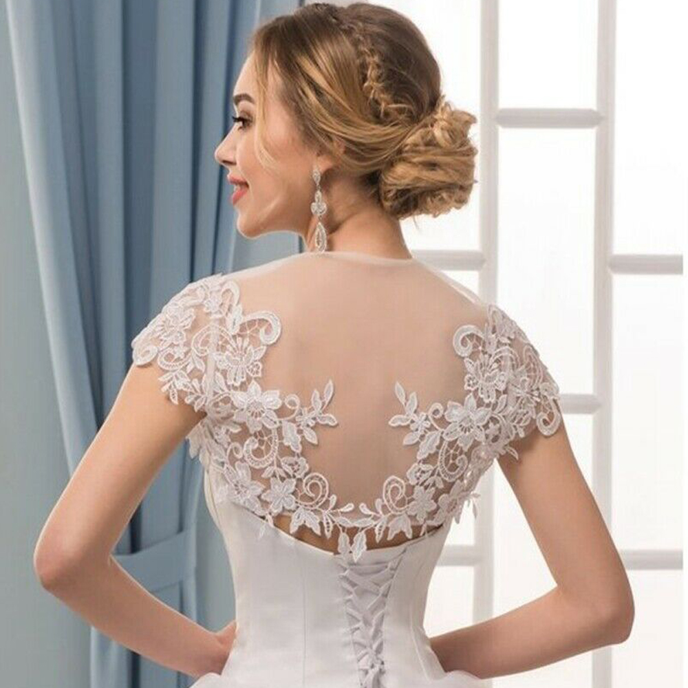 Wedding Jackets Lace Front Open Cap Sleeve Bridal Boleros White Ivory Shawl Wrap Appliques Bride Jacket