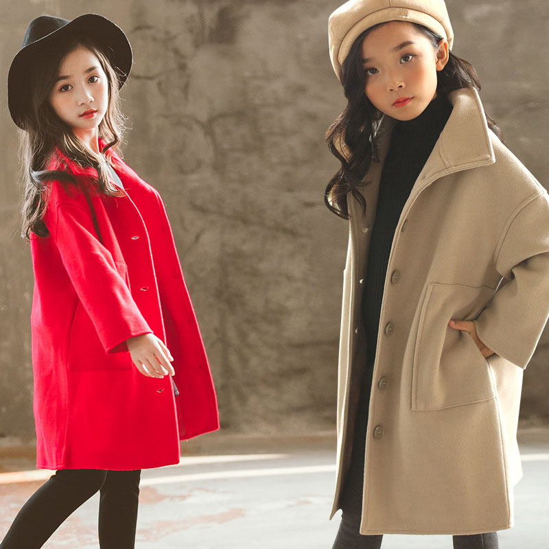 Girls Winter Coat 2019 New Autumn Girls Woolen Coat Teenage Girls Clothing Thick Warm Outerwear Coat RT203