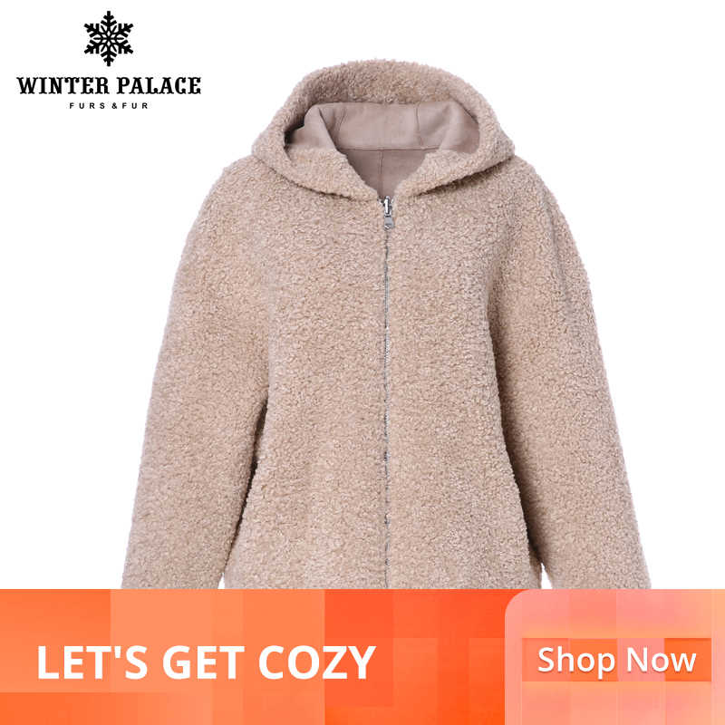 WINTER PALACE 2019 W0men's Fashion W00l C0at Fur Jacket Sh0rt Zip H00ded Fur C0at Granular W00l C0ntains 30% Winter Warm Jacket